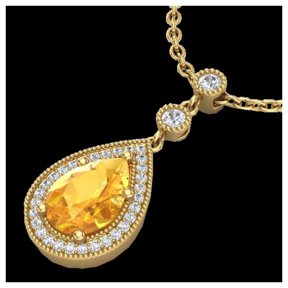 2.25 ctw Citrine & VS/SI Diamond Necklace 18K Yellow Gold - REF-46X2R - SKU:23132
