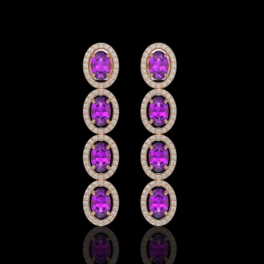 5.56 ctw Amethyst & Diamond Halo Earrings 10K Rose Gold - REF-125K5W - SKU:40542
