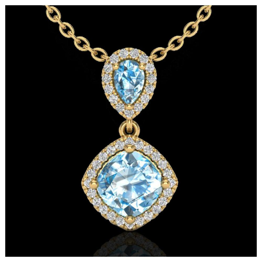 3.50 ctw Sky Blue Topaz & VS/SI Diamond Necklace 10K Yellow Gold - REF-45K3W - SKU:20540