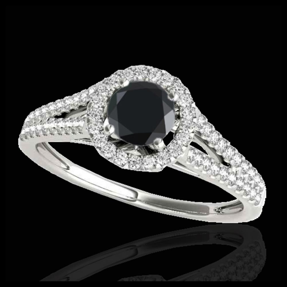 1.30 ctw VS Black Diamond Solitaire Halo Ring 10K White Gold - REF-48W7H - SKU:33885