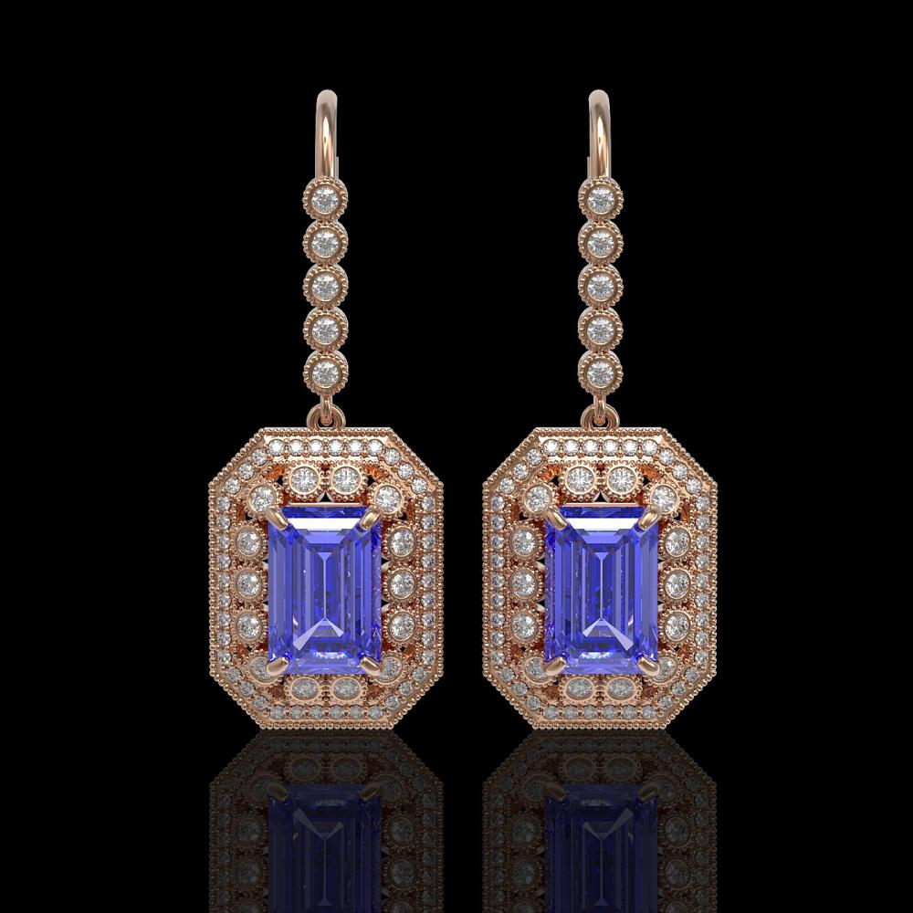 11.66 ctw Tanzanite & Diamond Earrings 14K Rose Gold - REF-484M7F - SKU:43398