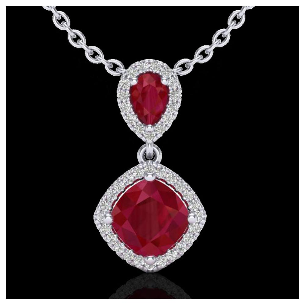 3.50 ctw Ruby & VS/SI Diamond Necklace 10K White Gold - REF-63H6M - SKU:20546