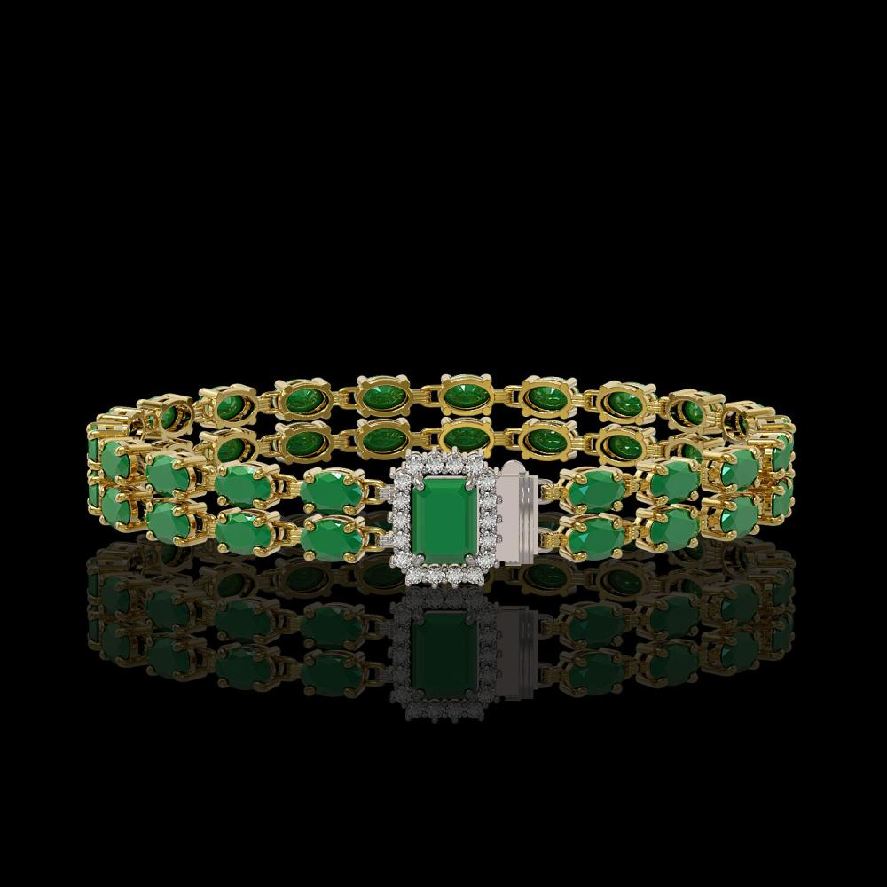 19.07 ctw Emerald & Diamond Bracelet 14K Yellow Gold - REF-208V2Y - SKU:45709