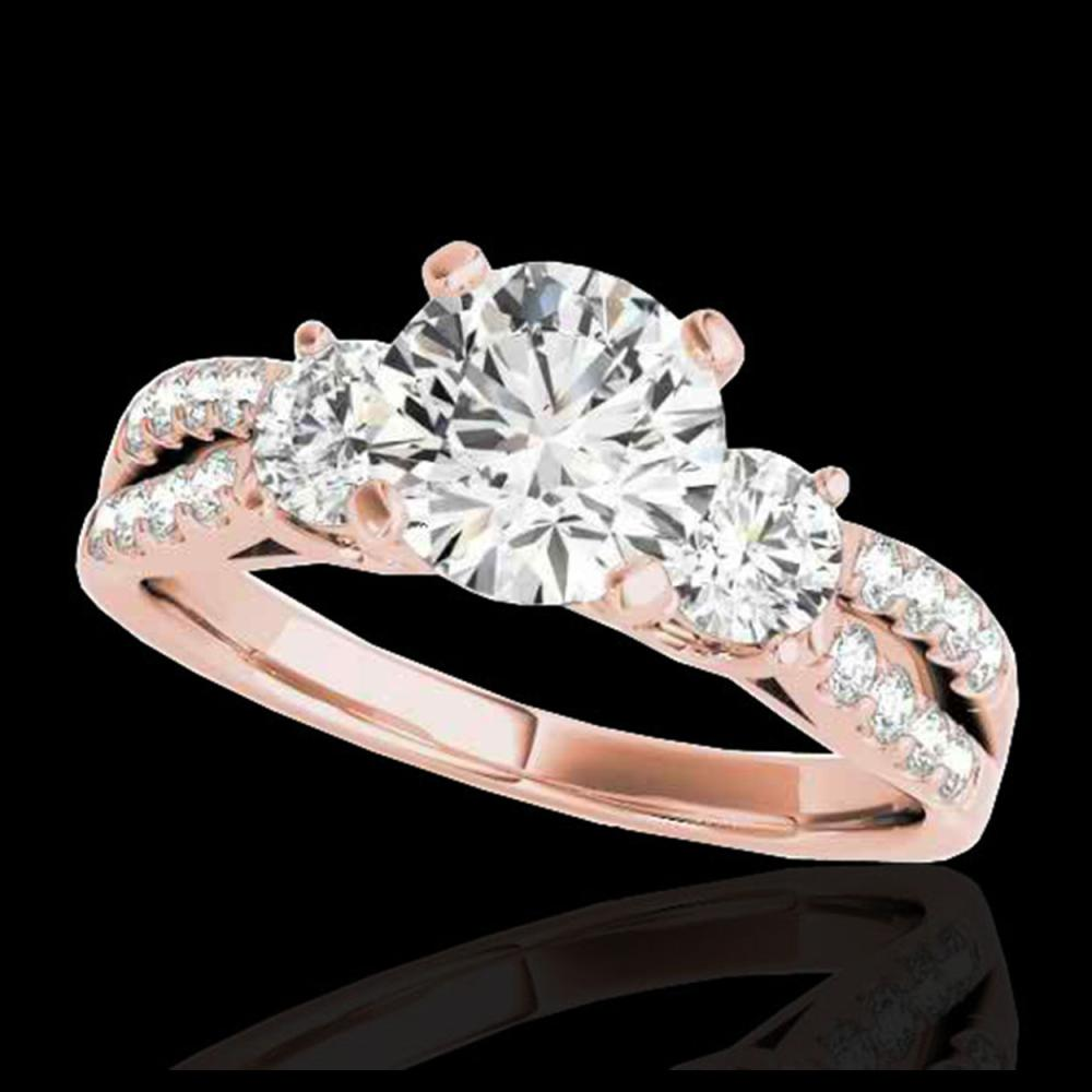 1.50 ctw H-SI/I Diamond 3 Stone Solitaire Ring 10K Rose Gold - REF-204K5W - SKU:35404