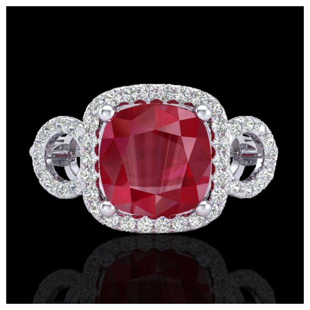 3.15 ctw Ruby & VS/SI Diamond Ring 18K White Gold - REF-76Y7X - SKU:23008