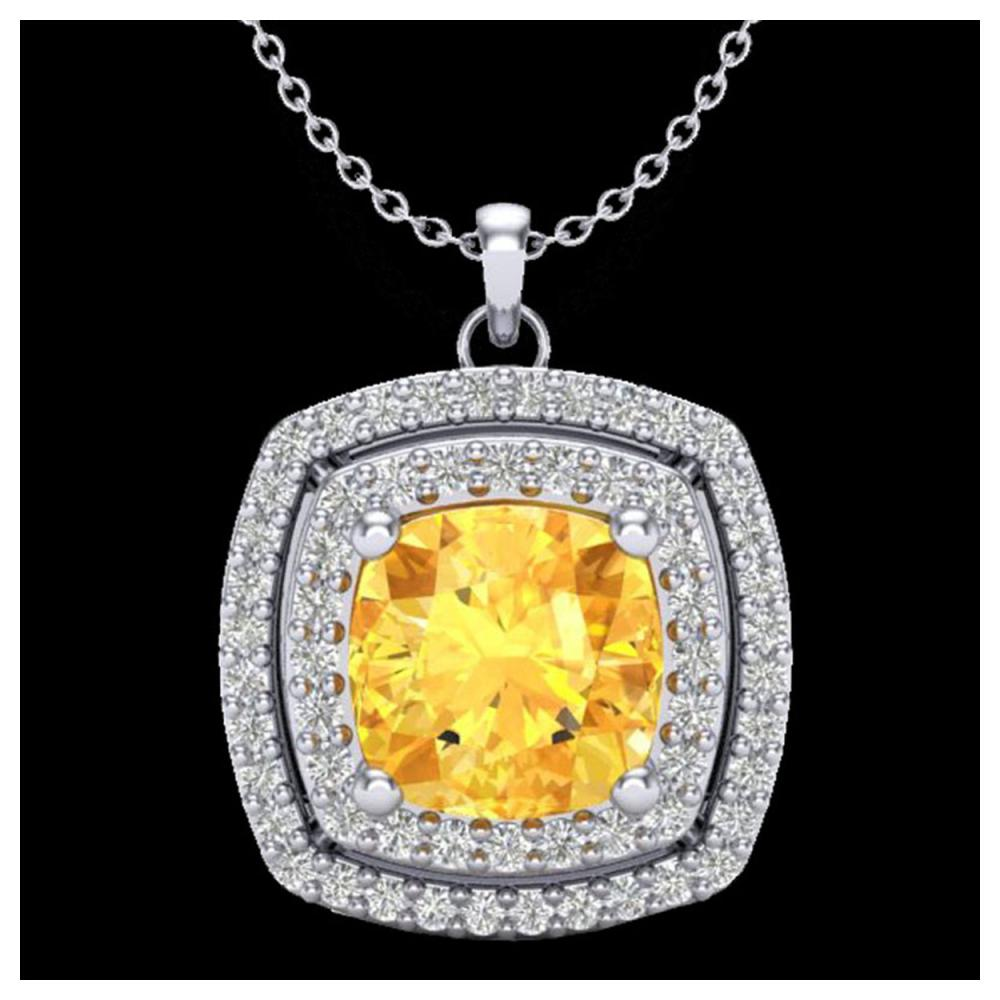 1.77 ctw Citrine & VS/SI Diamond Necklace 18K White Gold - REF-63H5M - SKU:20452