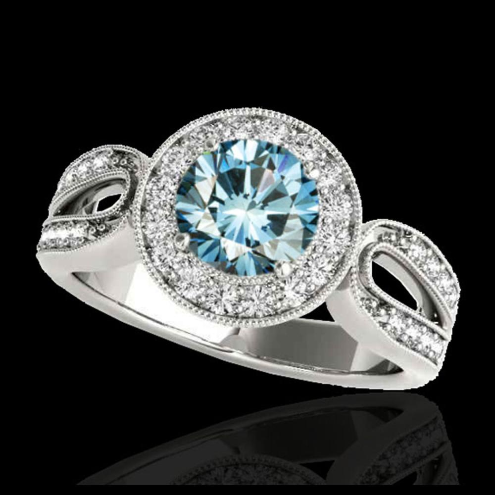 1.40 ctw SI Fancy Blue Diamond Solitaire Halo Ring 10K White Gold - REF-130A6V - SKU:34563