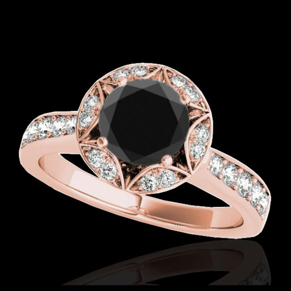 1.50 ctw VS Black Diamond Solitaire Halo Ring 10K Rose Gold - REF-58V2Y - SKU:34233