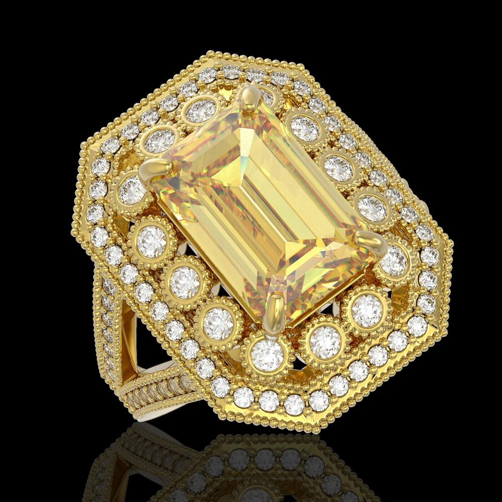 5.85 ctw Canary Citrine & Diamond Ring 14K Yellow Gold - REF-145H6M - SKU:43381