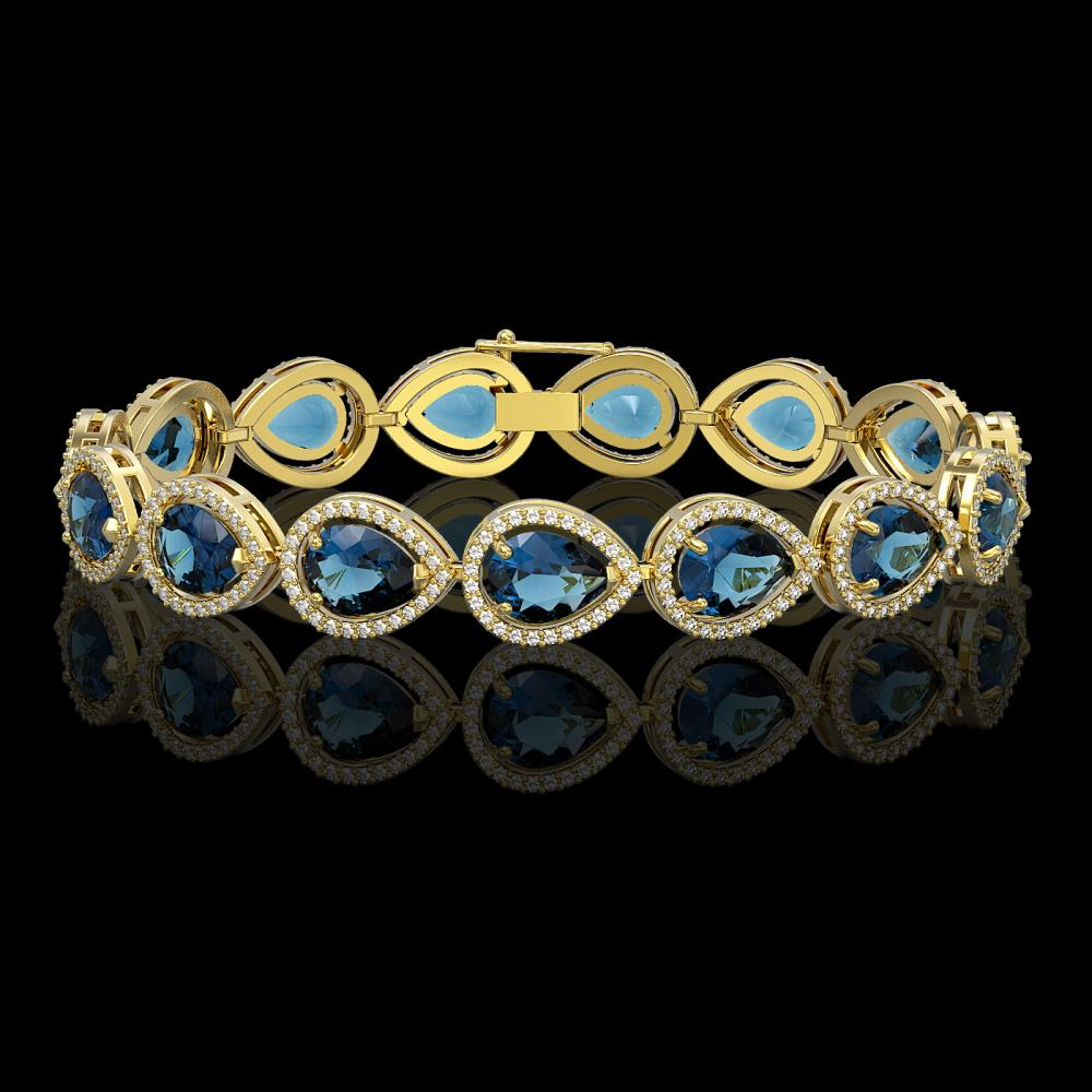 21.06 ctw London Topaz & Diamond Halo Bracelet 10K Yellow Gold - REF-293W3H - SKU:41272
