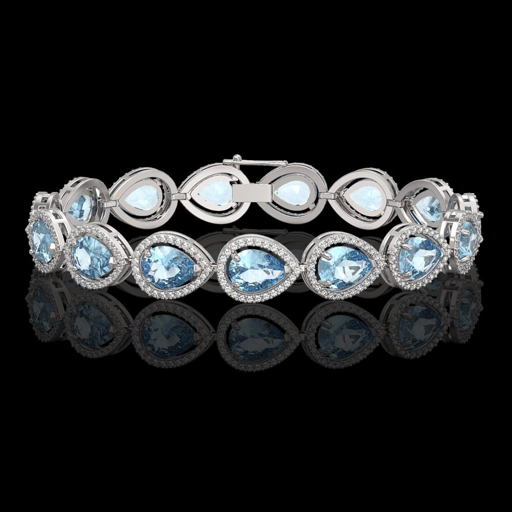 19.85 ctw Aquamarine & Diamond Halo Bracelet 10K White Gold - REF-423A3V - SKU:41258