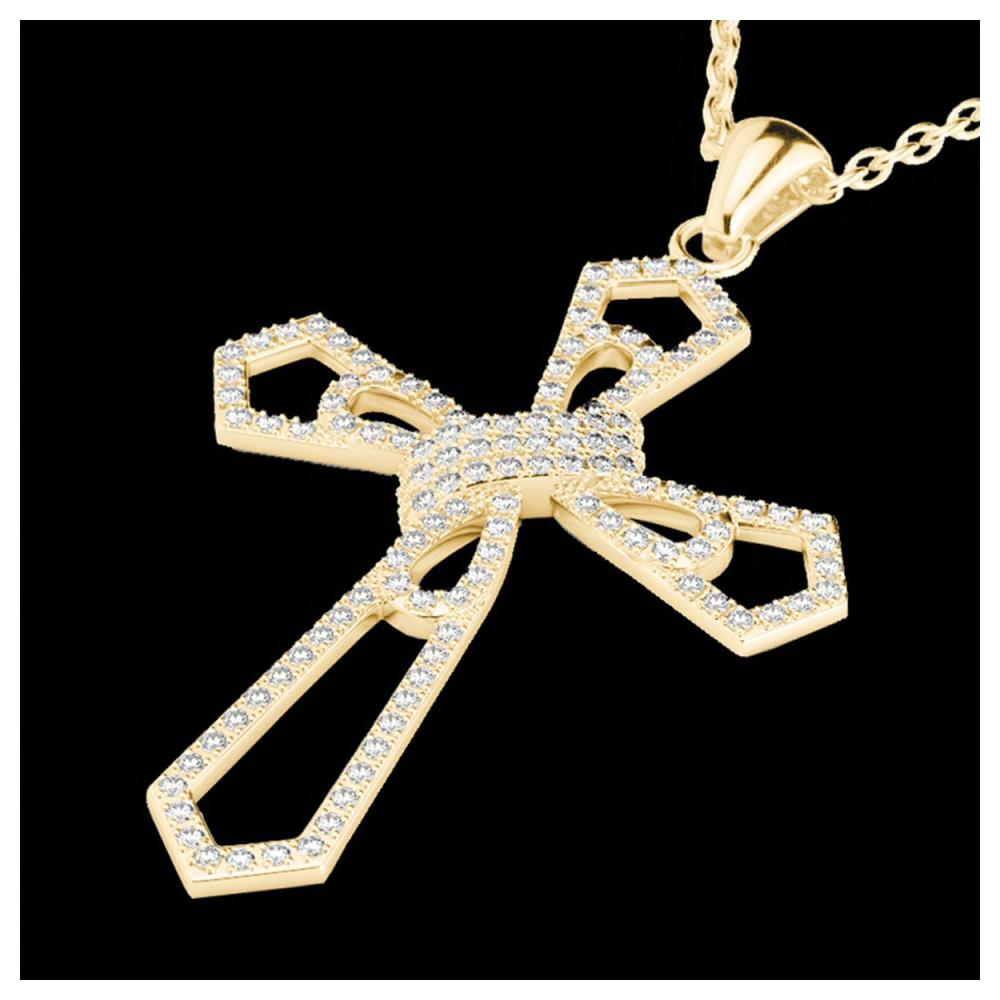 1 ctw VS/SI Diamond Cross Necklace 18K Yellow Gold - REF-107R3K - SKU:22579