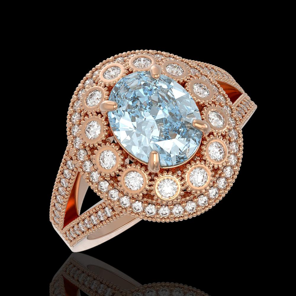 3.85 ctw Aquamarine & Diamond Ring 14K Rose Gold - REF-165X3R - SKU:43587