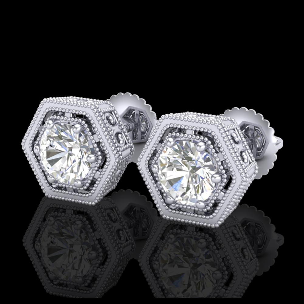 1.07 ctw VS/SI Diamond Solitaire Art Deco Stud Earrings 18K White Gold - REF-190H9M - SKU:36899