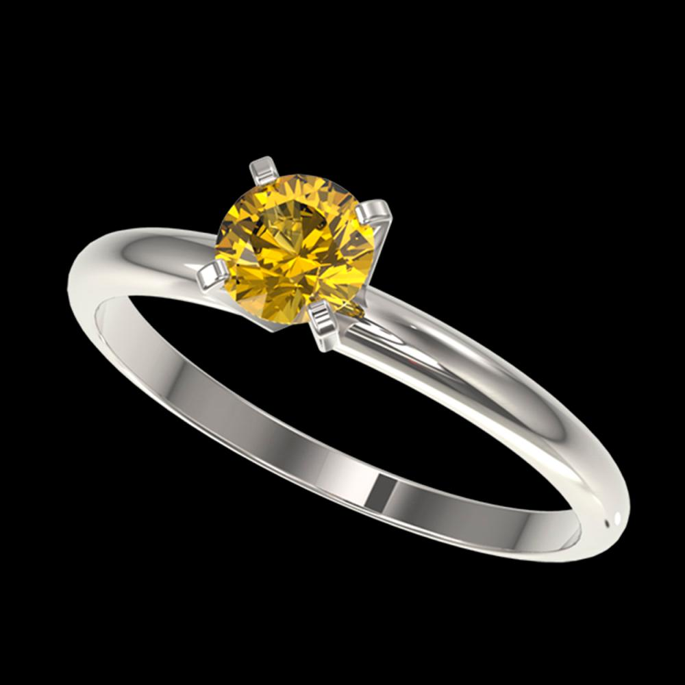 0.55 ctw Intense Yellow Diamond Ring 10K White Gold - REF-58F5N - SKU:36380