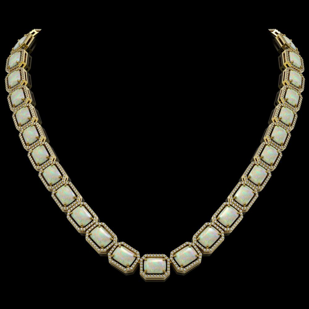 53.59 ctw Opal & Diamond Halo Necklace 10K Yellow Gold - REF-890N9A - SKU:41491