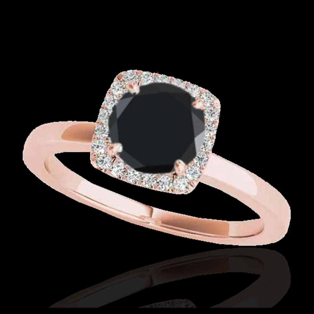 1.15 ctw VS Black Diamond Solitaire Halo Ring 10K Rose Gold - REF-32W7H - SKU:33404