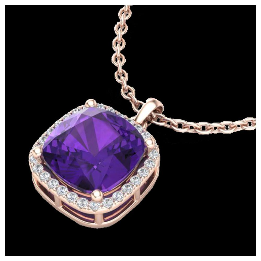 6 ctw Amethyst & VS/SI Diamond Necklace 14K Rose Gold - REF-50N9A - SKU:23074