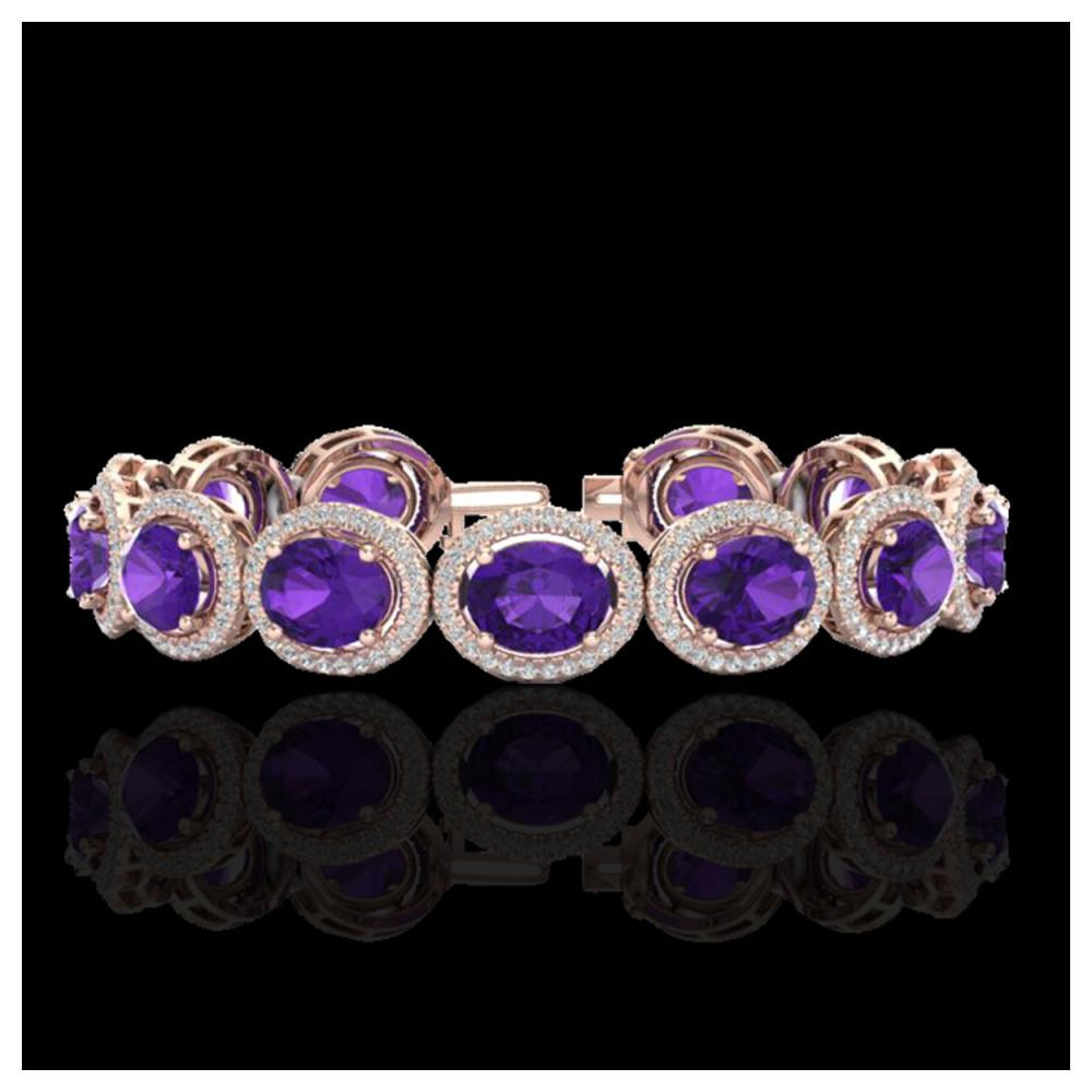 24 ctw Amethyst & VS/SI Diamond Bracelet 10K Rose Gold - REF-360R2K - SKU:22678