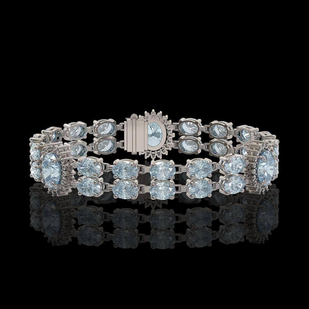 19.3 ctw Sky Topaz & Diamond Bracelet 14K White Gold - REF-161F3N - SKU:44255