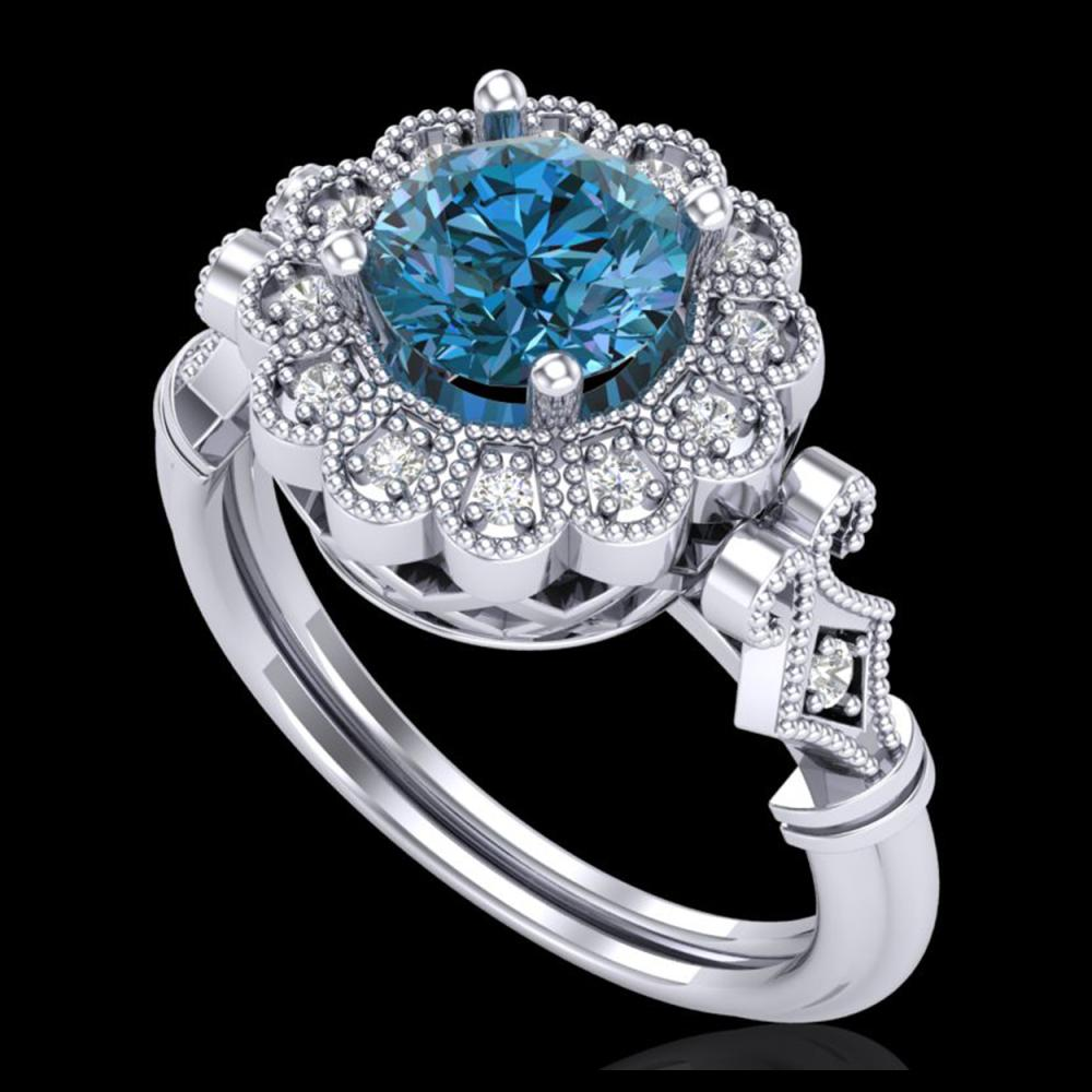1.20 ctw Intense Blue Diamond Art Deco Ring 18K White Gold - REF-218M2F - SKU:37831