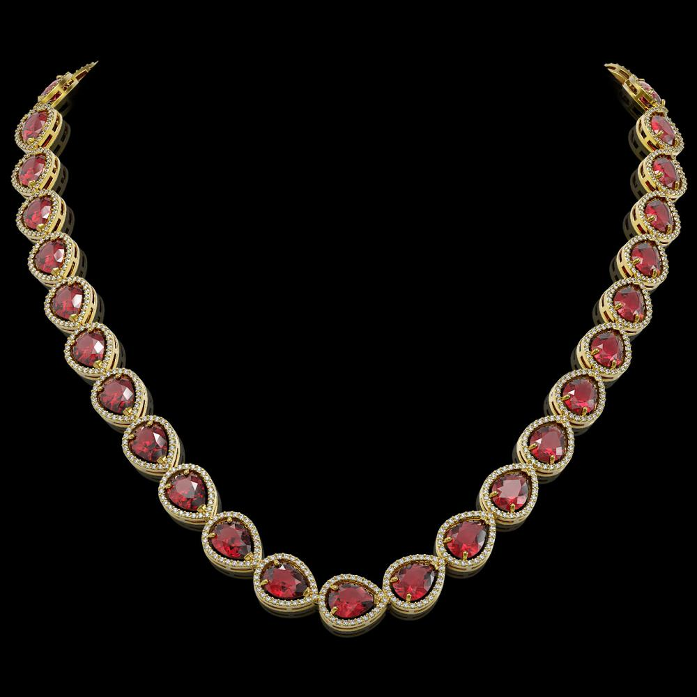 41.6 ctw Tourmaline & Diamond Halo Necklace 10K Yellow Gold - REF-1072Y7X - SKU:41206