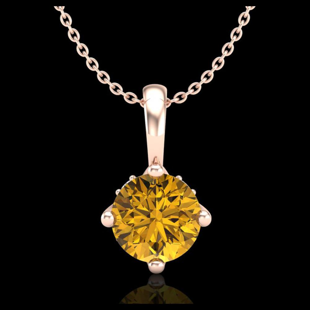 0.82 ctw Intense Fancy Yellow Diamond Art Deco Necklace 18K Rose Gold - REF-136K4W - SKU:37806