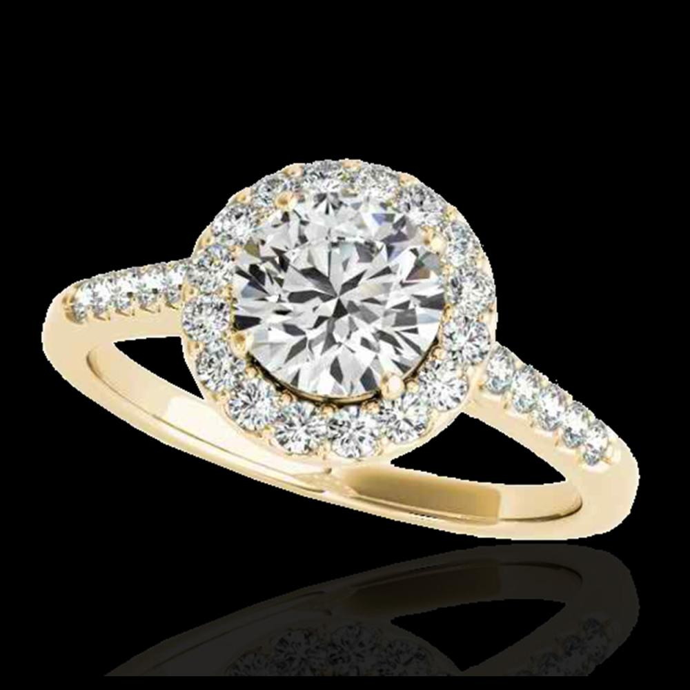 1.50 ctw H-SI/I Diamond Solitaire Halo Ring 10K Yellow Gold - REF-177F3N - SKU:33483