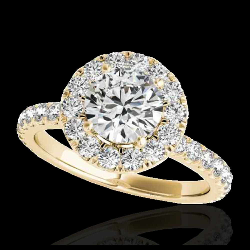 1.75 ctw H-SI/I Diamond Solitaire Halo Ring 10K Yellow Gold - REF-135R2K - SKU:33438