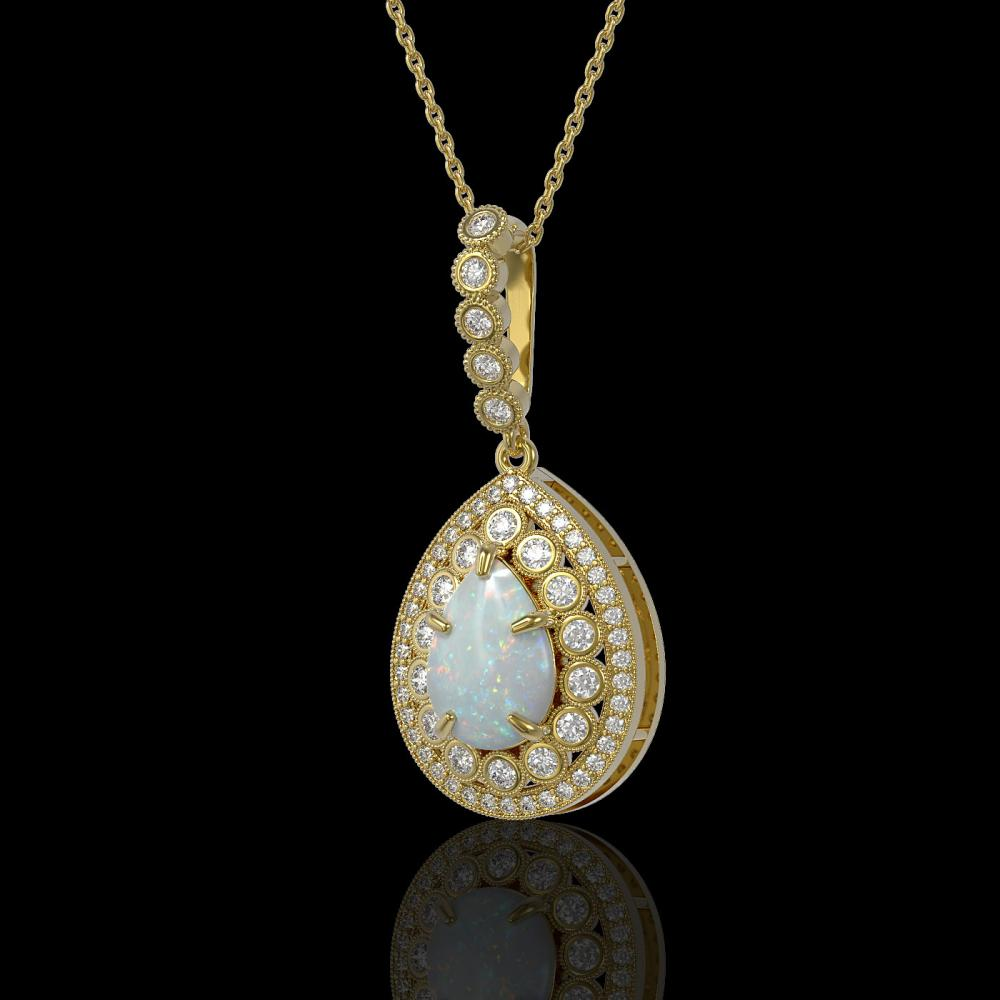 4.14 ctw Opal & Diamond Necklace 14K Yellow Gold - REF-139Y3X - SKU:43219