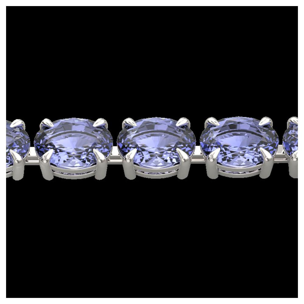 24 ctw Tanzanite Eternity Bracelet 14K White Gold - REF-218Y2X - SKU:23395