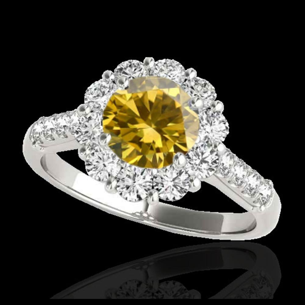 2.75 ctw SI/I Fancy Intense Yellow Diamond Ring 10K White Gold - REF-353V2Y - SKU:33434