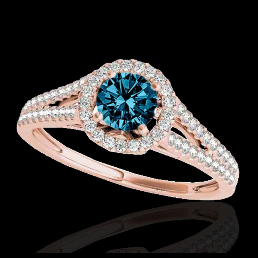 1.30 ctw SI Fancy Blue Diamond Solitaire Halo Ring 10K Rose Gold - REF-122F3N - SKU:33888