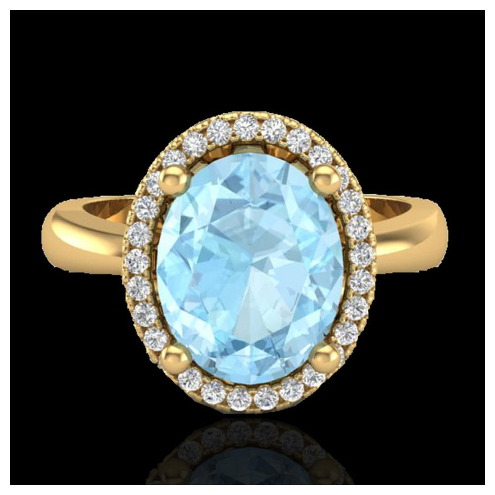 2.50 ctw Aquamarine & VS/SI Diamond Ring 18K Yellow Gold - REF-60V4Y - SKU:21096