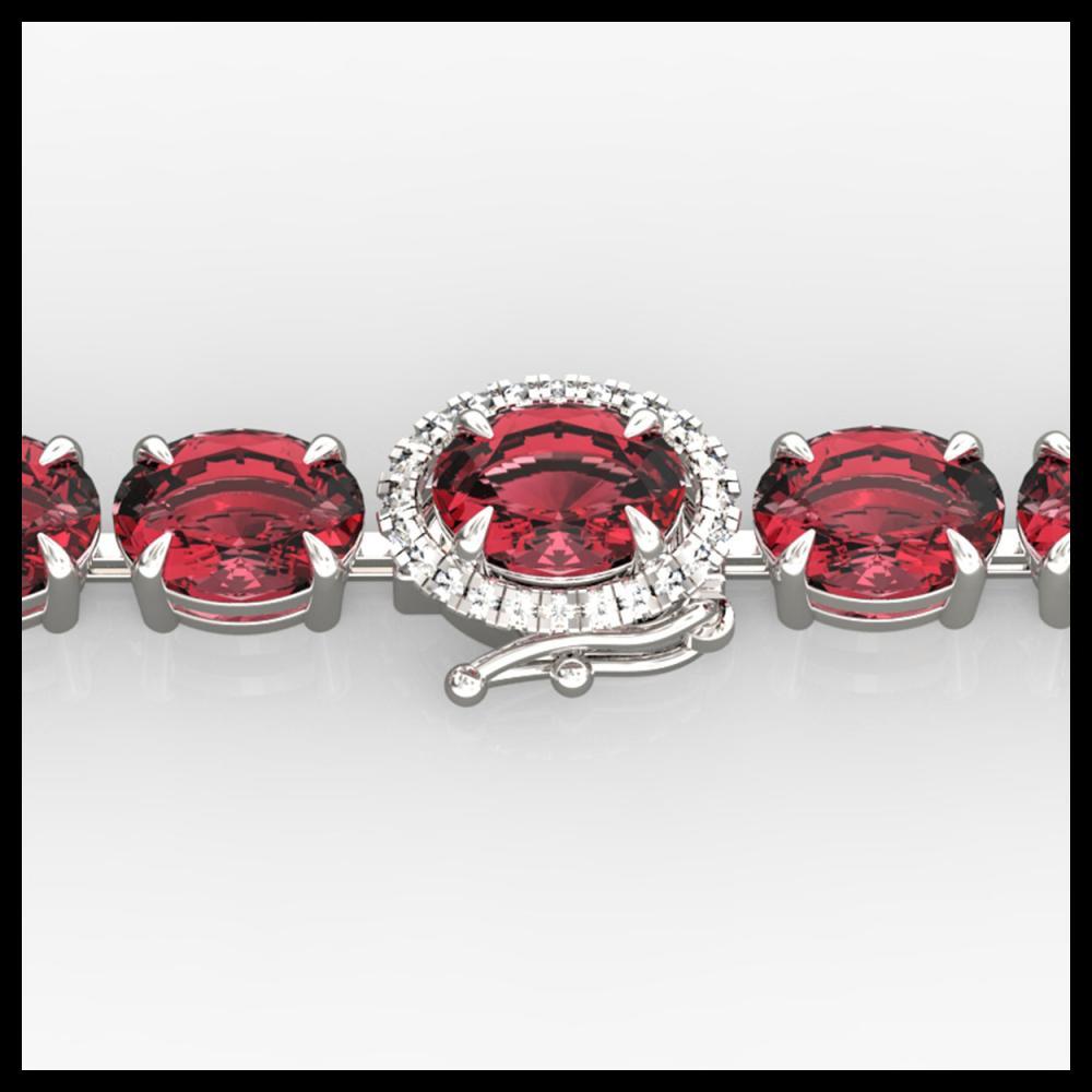 17.25 ctw Pink Tourmaline & Diamond Bracelet 14K White Gold - REF-218A2V - SKU:40241