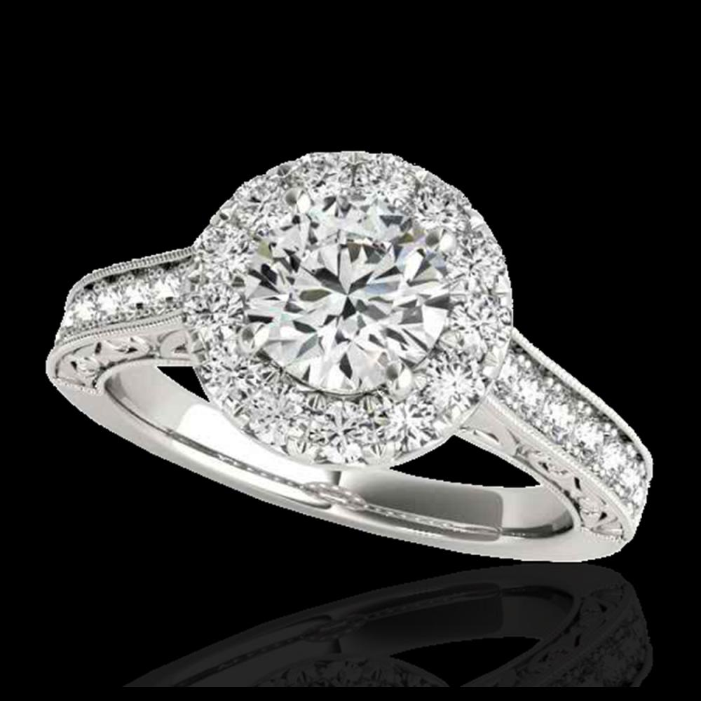 1.70 ctw H-SI/I Diamond Solitaire Halo Ring 10K White Gold - REF-218R2K - SKU:33724