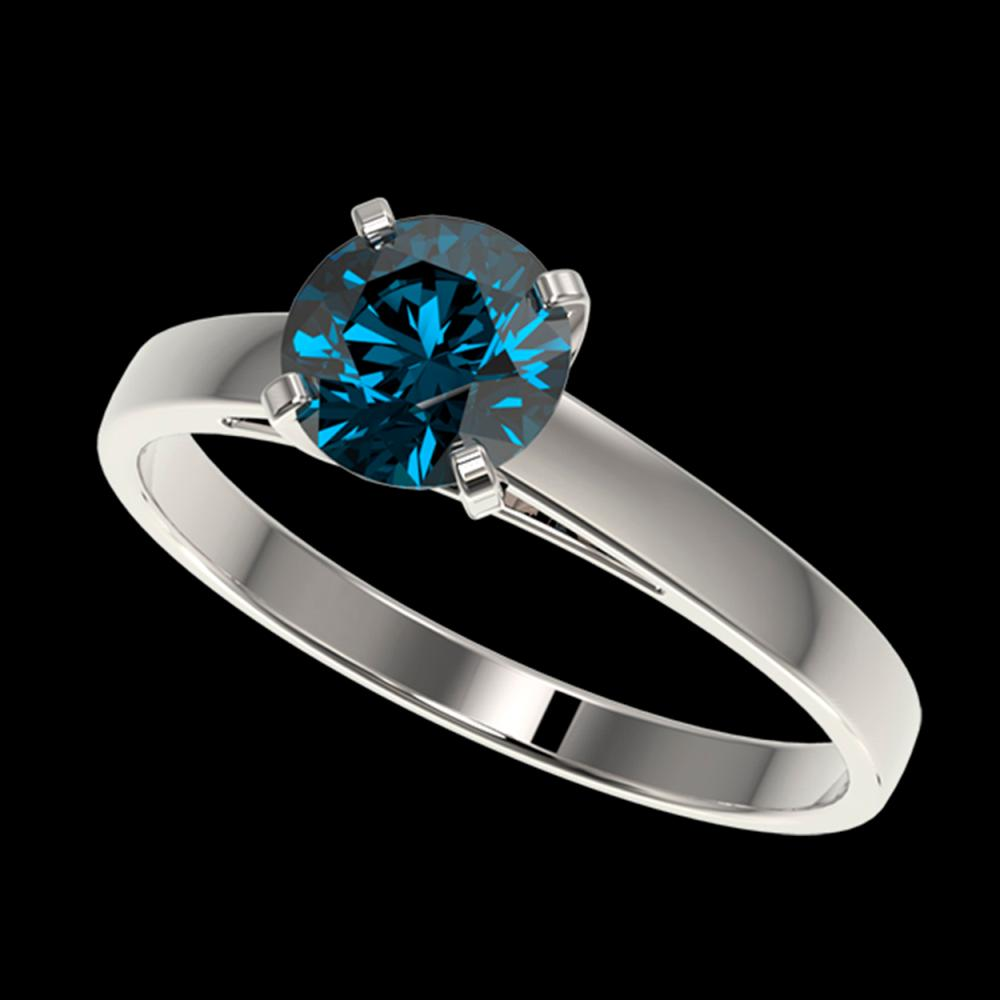 1.08 ctw Intense Blue Diamond Ring 10K White Gold - REF-127Y5X - SKU:36522