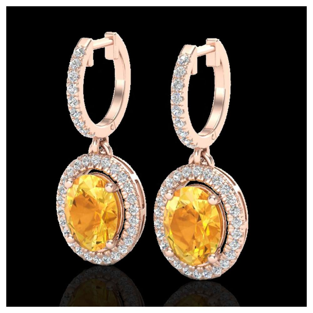 3.50 ctw Citrine & VS/SI Diamond Earrings 14K Rose Gold - REF-83F6N - SKU:20319