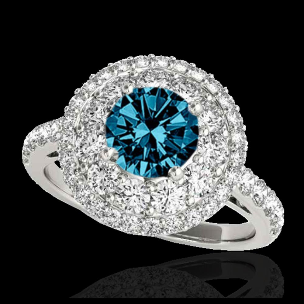 2.09 ctw SI Fancy Blue Diamond Halo Ring 10K White Gold - REF-165Y2X - SKU:33693