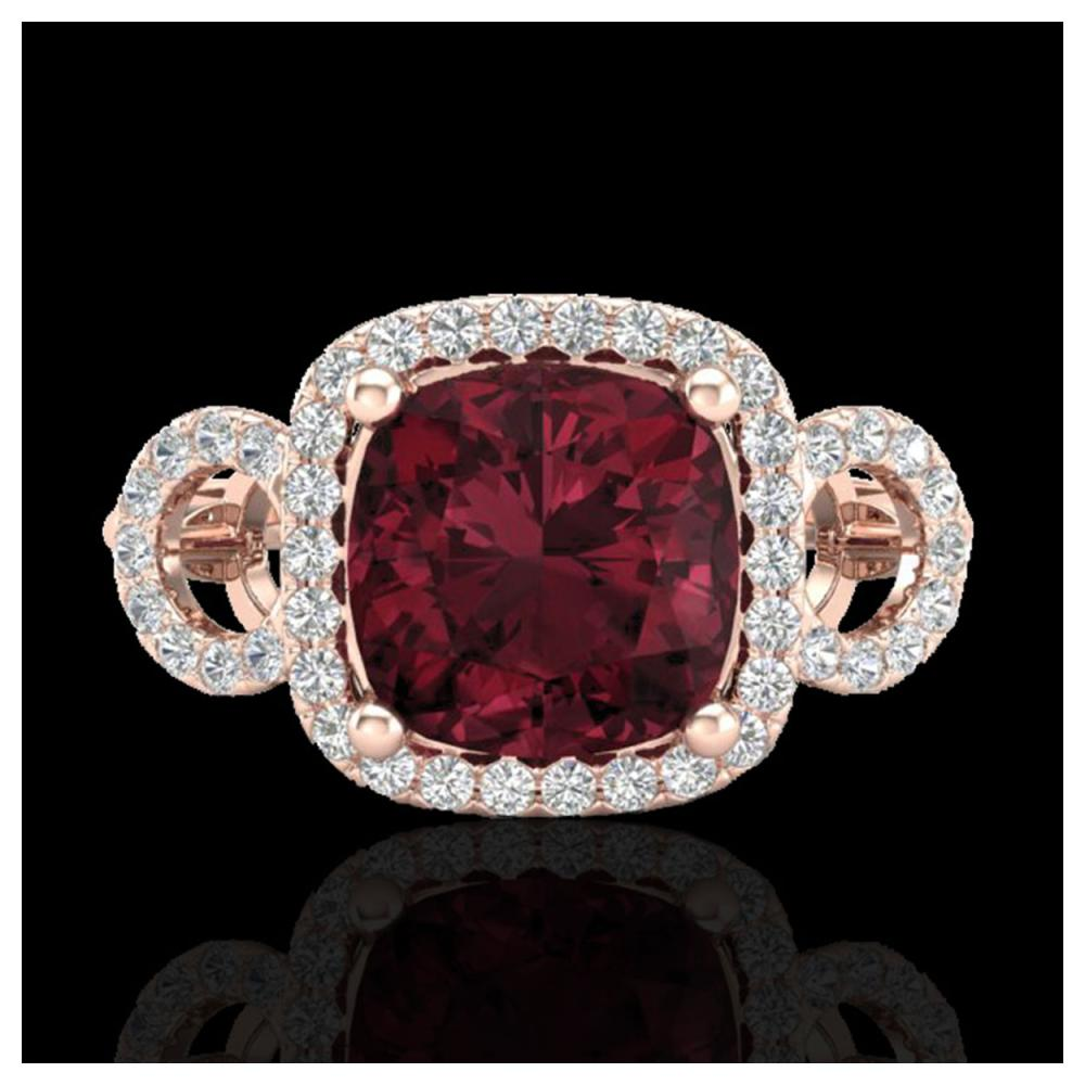 3.75 ctw Garnet & VS/SI Diamond Ring 14K Rose Gold - REF-52K7W - SKU:23004