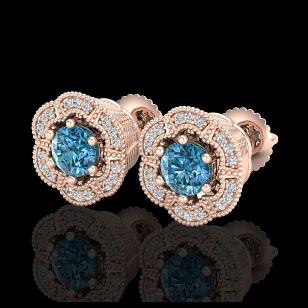 1.51 ctw Fancy Intense Blue Diamond Art Deco Earrings 18K Rose Gold - REF-178A2V - SKU:37965