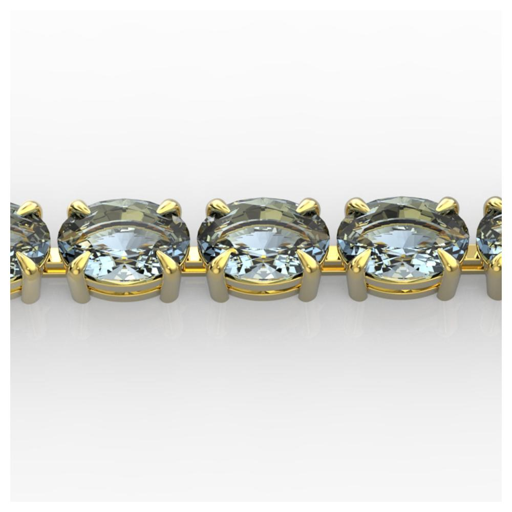 20 ctw Aquamarine Eternity Bracelet 14K Yellow Gold - REF-178R2K - SKU:23386