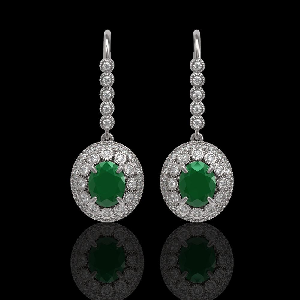 9.25 ctw Emerald & Diamond Earrings 14K White Gold - REF-256H2M - SKU:43601