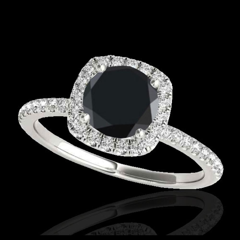 1.50 ctw VS Black Diamond Solitaire Halo Ring 10K White Gold - REF-45K3W - SKU:33337