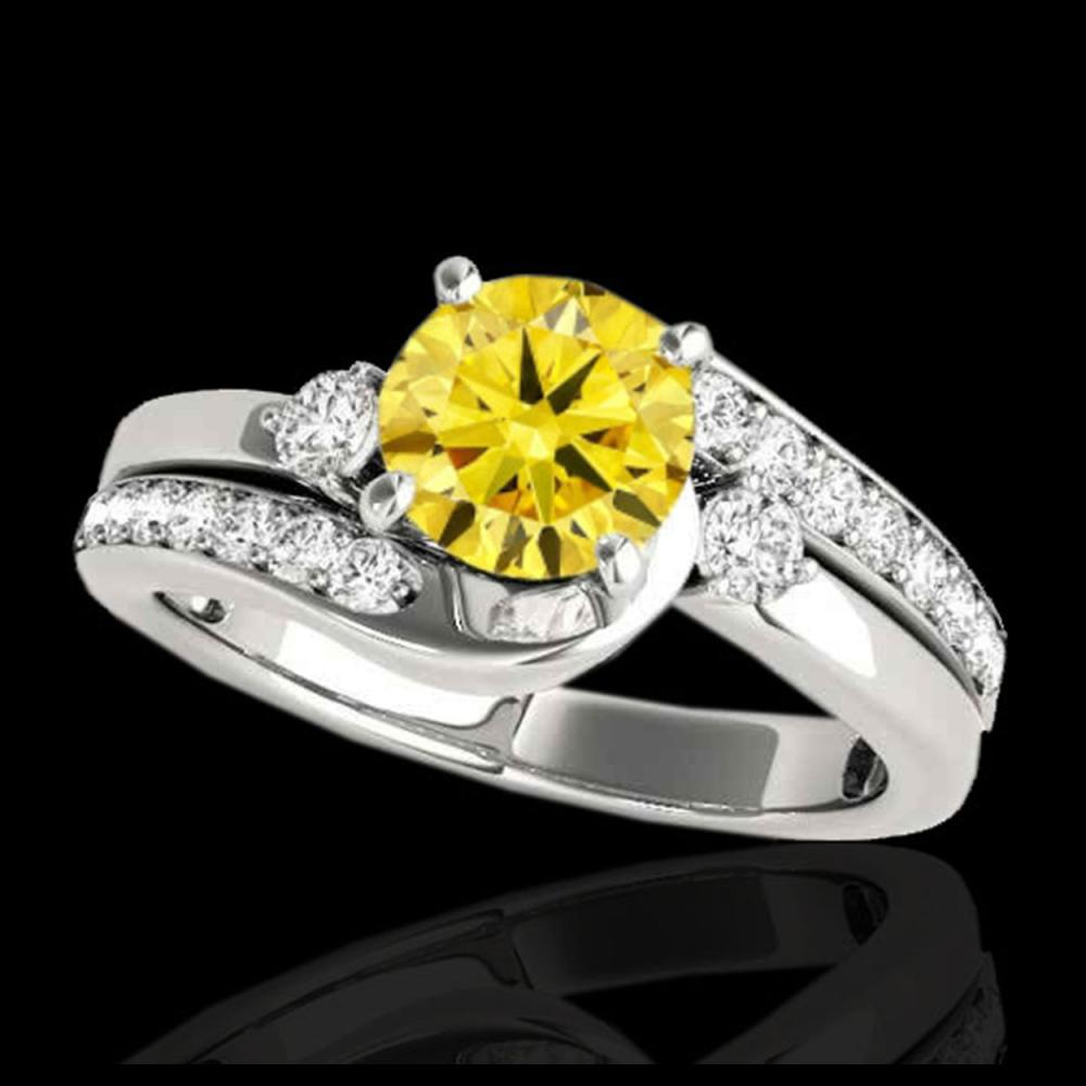2 ctw SI/I Fancy Intense Yellow Diamond Bypass Ring 10K White Gold - REF-245V5Y - SKU:35104