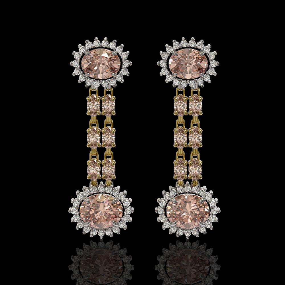 8.35 ctw Morganite & Diamond Earrings 14K Yellow Gold - REF-193M3F - SKU:44296