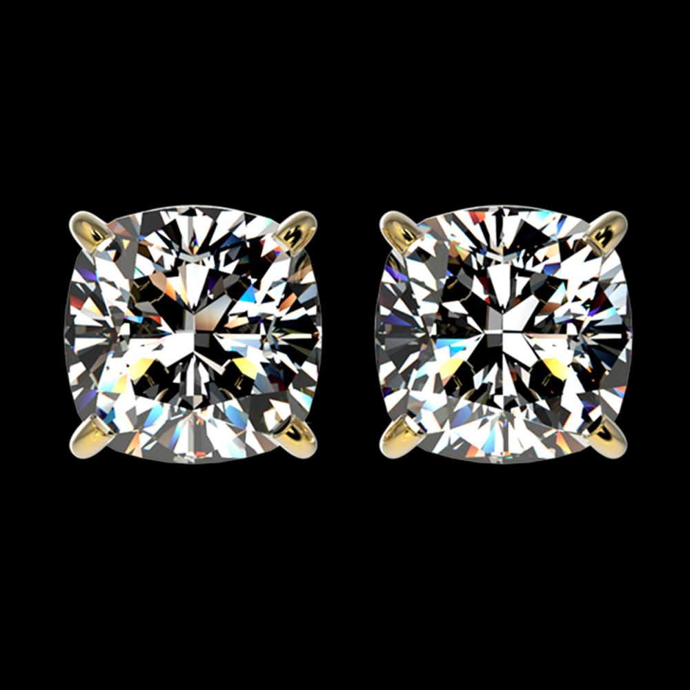 2 ctw VS/SI Cushion Diamond Stud Earrings 10K Yellow Gold - REF-585Y2X - SKU:33099