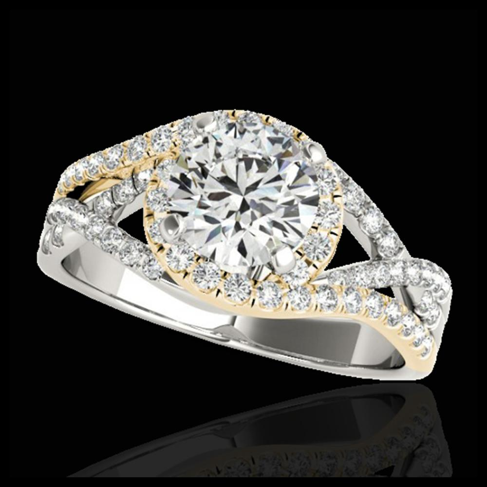 1.50 ctw H-SI/I Diamond Solitaire Halo Ring 10K White & Yellow Gold - REF-197R7K - SKU:33834