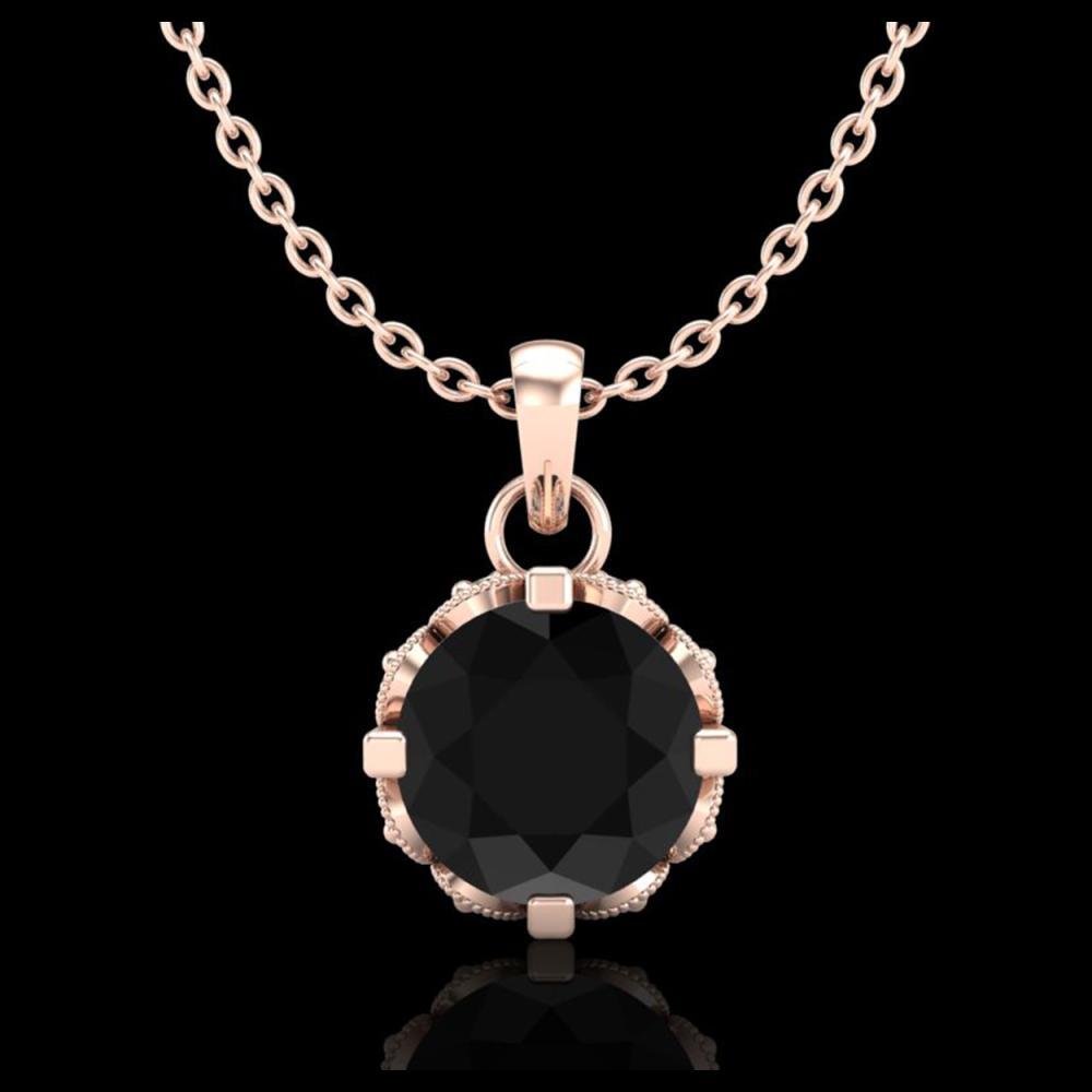 0.85 ctw Fancy Black Diamond Art Deco Stud Necklace 18K Rose Gold - REF-81F8N - SKU:37367