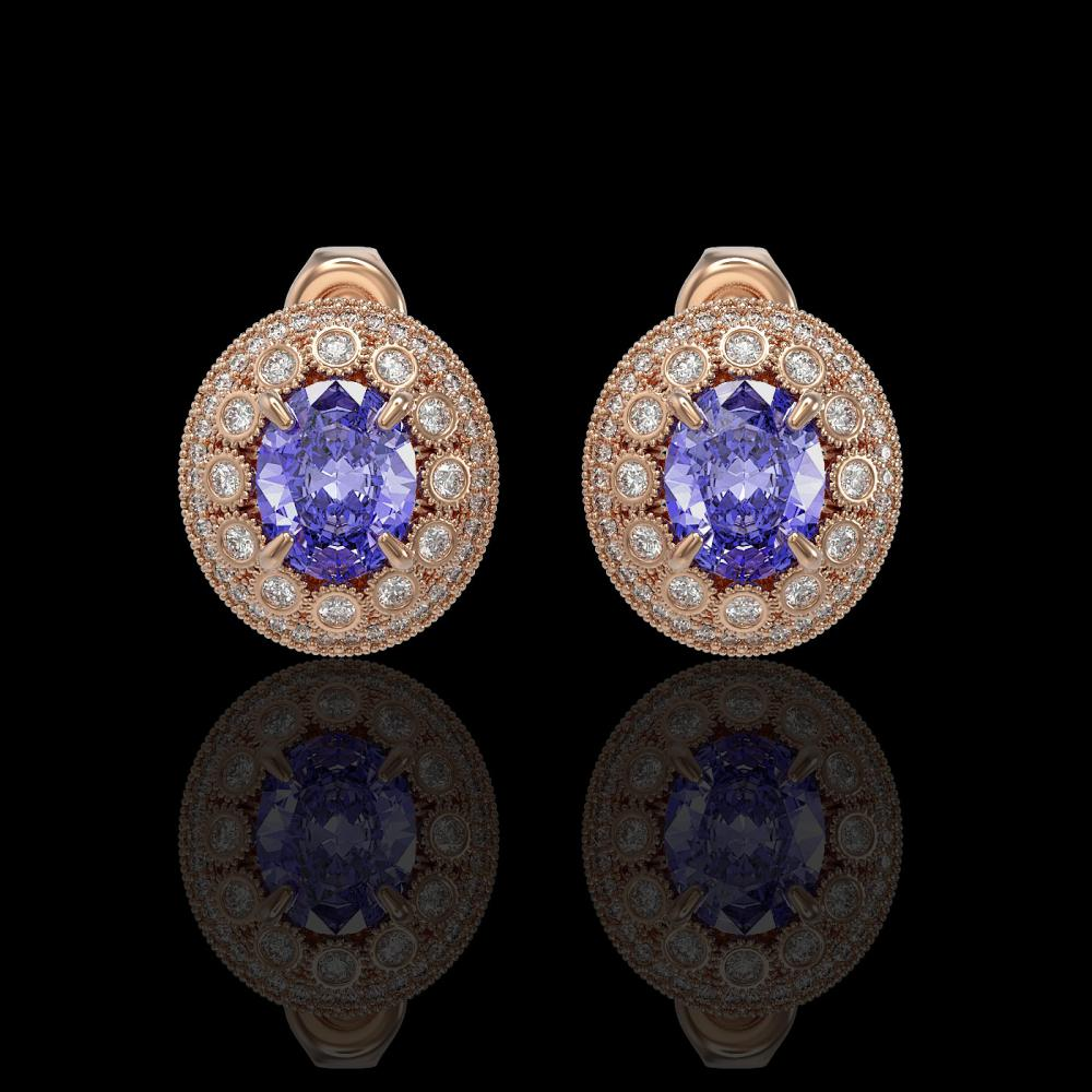 9.06 ctw Tanzanite & Diamond Earrings 14K Rose Gold - REF-286Y7X - SKU:43638